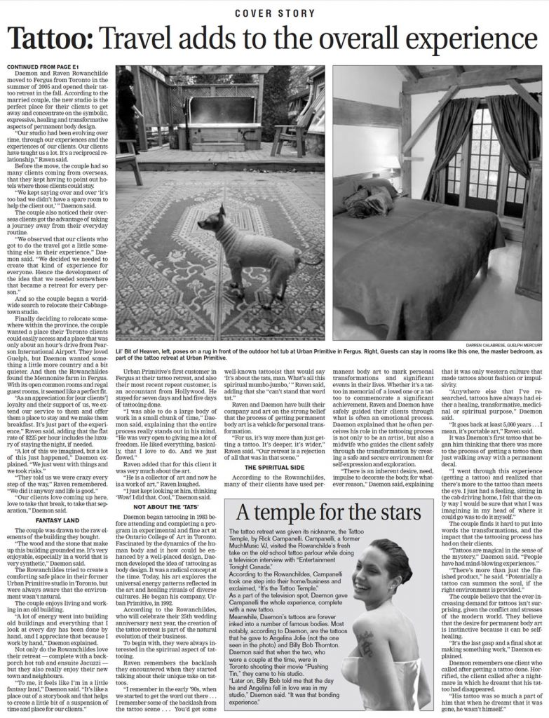 <p>Getting Inked<br /> Guelph Mercury, 2006-11-25</p>