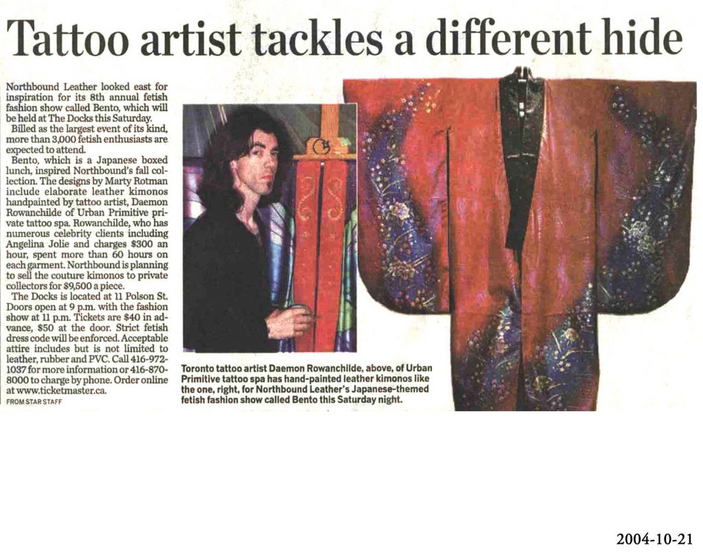 <p>Tattoo artist tackles a different hide<br /> Toronto Star, 2004-10-21</p>